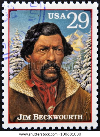 UNITED STATES OF AMERICA - CIRCA 1994: A stamp printed in USA shows Jim Beckwourth, circa 1994 - stock photo