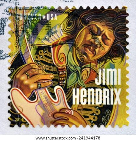 UNITED STATES OF AMERICA - CIRCA 2014: A stamp printed in USA shows Jimi Hendrix, circa 2014 - stock photo