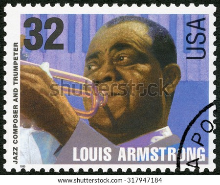 UNITED STATES OF AMERICA - CIRCA 1995: A stamp printed in USA shows Louis Armstrong Satchmo Pops (1901-1971), jazz composer and trumpeter, circa 1995 - stock photo