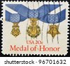 UNITED STATES OF AMERICA - CIRCA 1983: A stamp printed in USA shows medal of honor, circa 1983 - stock photo