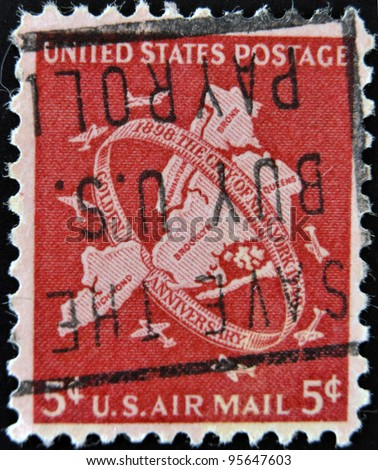UNITED STATES OF AMERICA - CIRCA 1948: A stamp printed in USA shows New York City, circa 1948 - stock photo