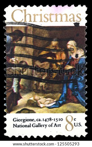 "UNITED STATES OF AMERICA - CIRCA 1971: A stamp printed in USA shows painting Adoration of Shepherds, with inscription ""Giorgione, 1478 - 1510, National Gallery of ART"", series ""Christmas"", circa 1971"