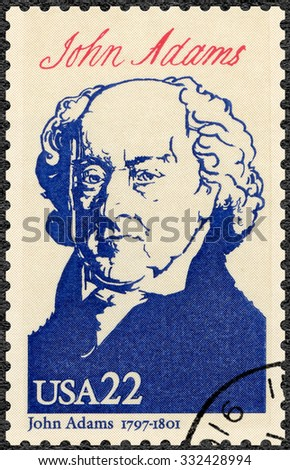 UNITED STATES OF AMERICA - CIRCA 1986: A stamp printed in USA shows portrait John Adams (1735-1826),  second President, series Presidents of USA, circa 1986 - stock photo