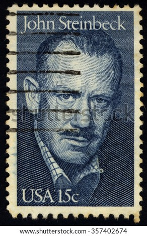 UNITED STATES OF AMERICA - CIRCA 1979: A stamp printed in USA shows Portrait of John Ernst Steinbeck, Jr. (1902-1968), Novelist, circa 1979 - stock photo