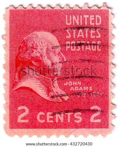 UNITED STATES OF AMERICA - CIRCA 1938: A stamp printed in USA shows Portrait of 2nd President of USA - John Adams, circa 1938 - stock photo