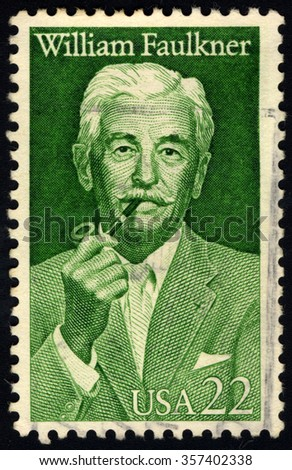 UNITED STATES OF AMERICA - CIRCA 1987: A stamp printed in USA shows portrait of William Cuthbert Faulkner, circa 1987 - stock photo