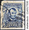 UNITED STATES OF AMERICA - CIRCA 1902: A stamp printed in USA shows president Abraham Lincoln, circa 1902 - stock photo