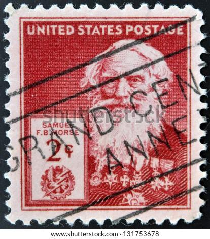 UNITED STATES OF AMERICA - CIRCA 1940: A stamp printed in USA shows Samuel Finley Breese Morse , circa 1940 - stock photo