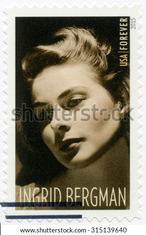 UNITED STATES OF AMERICA - CIRCA 2015: A stamp printed in USA shows shows Ingrid Bergman (1915-1982), series Legends of Hollywood, actress, circa 2015 - stock photo