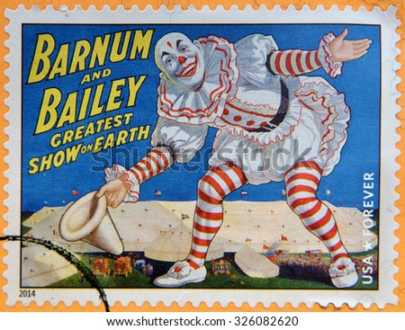 UNITED STATES OF AMERICA - CIRCA 2014: A stamp printed in USA shows smiling clown with white big hat in his hand and bowing, Barnum & Bailey greatest show on earth; circus vintage posters, circa 2014 - stock photo