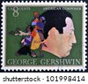 UNITED STATES OF AMERICA - CIRCA 1973: A stamp printed in USA shows  the great American classical and jazz composer and pianist George Gershwin, circa 1973 - stock photo