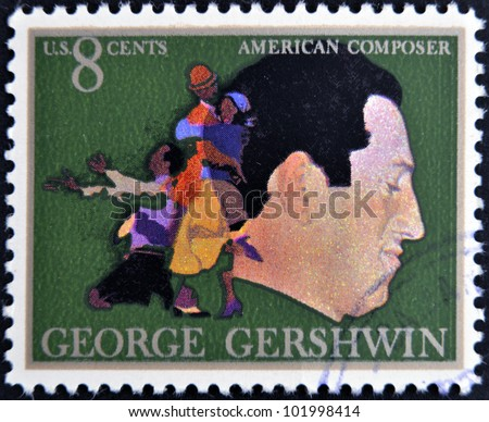 UNITED STATES OF AMERICA - CIRCA 1973: A stamp printed in USA shows  the great American classical and jazz composer and pianist George Gershwin, circa 1973