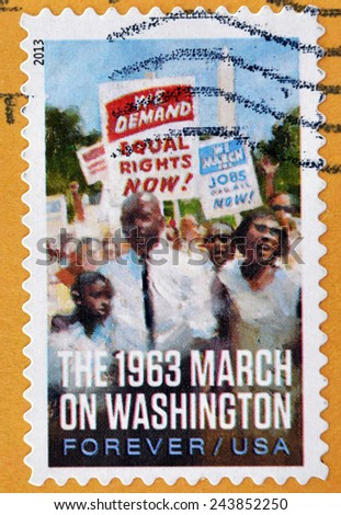 UNITED STATES OF AMERICA - CIRCA 2013: A stamp printed in USA shows the 1963 march on Washington, circa 2013 - stock photo