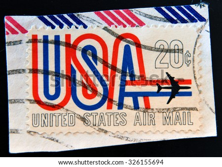 UNITED STATES OF AMERICA - CIRCA 1968: A Stamp printed in USA shows the USA inscription and Jet, symbols of American airmail , circa 1968 - stock photo