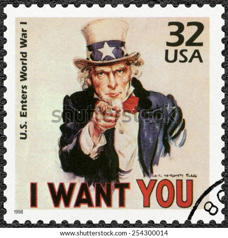 UNITED STATES OF AMERICA - CIRCA 1998: A stamp printed in USA shows Uncle Sam, U.S. enters World War I, series Celebrate the Century, 1910s, circa 1998 - stock photo