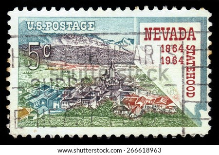 UNITED STATES OF AMERICA - CIRCA 1964: A stamp printed in USA shows Virginia City, Nevada, 100th Anniversary of Nevada Statehood, circa 1964