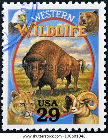 UNITED STATES OF AMERICA - CIRCA 1994: A stamp printed in USA shows Western Wildlife in the American Old West, circa 1994 - stock photo