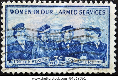 UNITED STATES OF AMERICA- CIRCA 1952: A stamp printed in USA shows Women of the Marine Corps, Army, Navy and Air Force, circa 1952 - stock photo