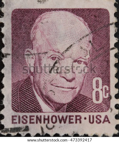 UNITED STATES OF AMERICA - CIRCA 1971: A stamp printed in USA with president eisenhower
