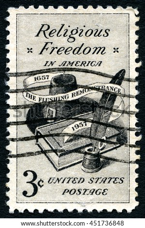 UNITED STATES OF AMERICA - CIRCA 1957: A used postage stamp celebrating Religious Freedom in America, circa 1957. - stock photo