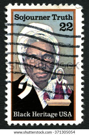 UNITED STATES OF AMERICA - CIRCA 1986: A used postage stamp from the United States of America, dedicated to abolitionist Sijourner Truth, circa 1986. - stock photo