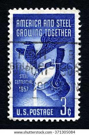 UNITED STATES OF AMERICA - CIRCA 1957: A used postage stamp from the United States of America, dedicated to America and Steel Growing Together, circa 1957. - stock photo