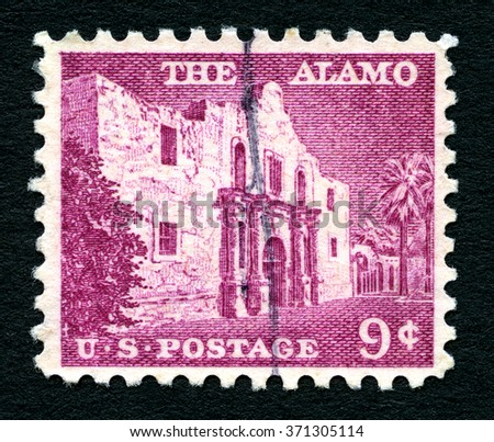 UNITED STATES OF AMERICA - CIRCA 1954: A used postage stamp from the United States of America, portraying an illustration of the Alamo, circa 1954. - stock photo