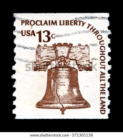 UNITED STATES OF AMERICA - CIRCA 1978: A used postage stamp from the United States of America, portraying an image of the Liberty Bell and a patriotic message, circa 1978. - stock photo