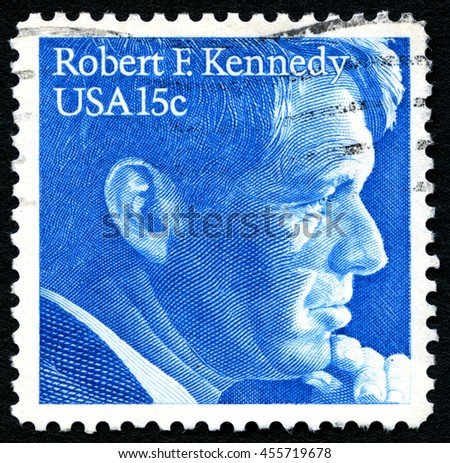 UNITED STATES OF AMERICA - CIRCA 1979: A used postage stamp from the USA depicting an illustration of Robert F. Kennedy, circa 1979. - stock photo