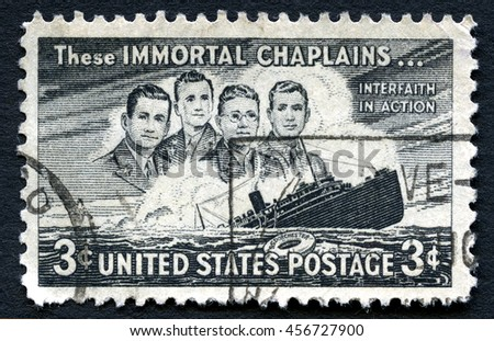 UNITED STATES OF AMERICA - CIRCA 1948: A used postage stamp from the USA from the 5th Anniversary of the sinking of the SS Dorchester and commemorates the lives lost, circa 1948. - stock photo