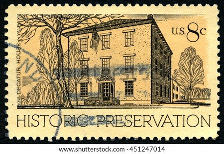 UNITED STATES OF AMERICA - CIRCA 1971: A used postage stamp from the USA promoting historic prerservation and depicting an illustration of Decatur House in Washington DC, circa 1971. - stock photo