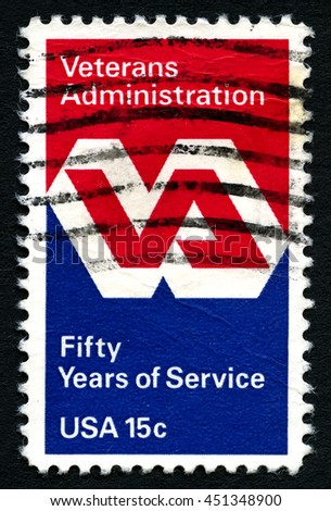 UNITED STATES OF AMERICA - CIRCA 1980: A used postage stamp from the USA to honour the 50th Anniversary of the Veterans Administration, circa 1980. - stock photo