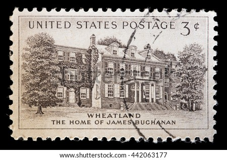UNITED STATES OF AMERICA - CIRCA 1956: A used postage stamp printed in United States shows Wheatland, the home of the President James Buchanan outside of Lancaster, Pennsylvania, circa 1956