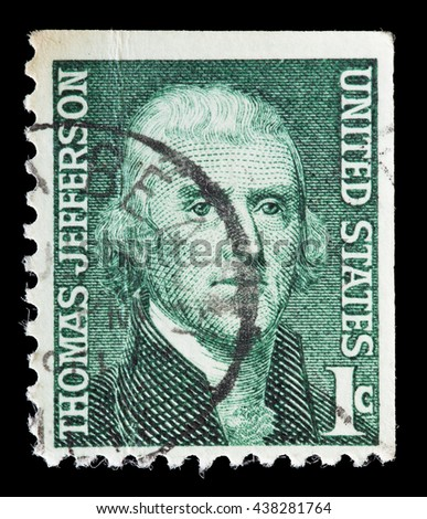 UNITED STATES OF AMERICA - CIRCA 1968: A used postage stamp printed in United States shows a portrait of the President Thomas Jefferson on green background, circa 1968