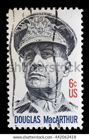 UNITED STATES OF AMERICA - CIRCA 1971: A used postage stamp printed in United States shows a portrait of General Douglas MacArthur, Marshal of Philippine Army and Chief of Staff of the USA, circa 1971