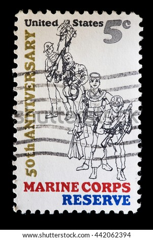 UNITED STATES OF AMERICA - CIRCA 1966: A used postage stamp printed in United States shows a group of soldiers in uniform of the Marine Corps reserve, circa 1966