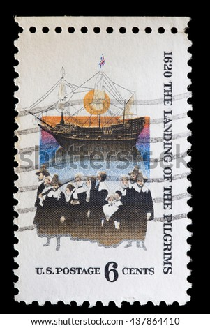 UNITED STATES OF AMERICA - CIRCA 1970: A used postage stamp printed in United States shows the Mayflower, the ship that transported the first Pilgrims to the New World, circa 1970 - stock photo