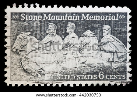 UNITED STATES OF AMERICA - CIRCA 1970: A used postage stamp printed in United States shows the Stone Mountain Memorial, the largest rock relief in the world depicting figures of Civil War, circa 1970 - stock photo