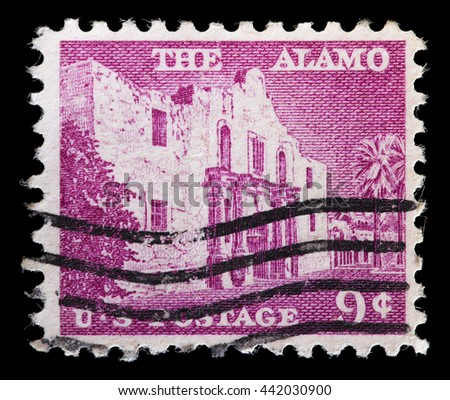 UNITED STATES OF AMERICA - CIRCA 1956: A used postage stamp printed in United States shows the chapel of the Alamo Mission in San Antonio Texas, site of the famous battle, circa 1956