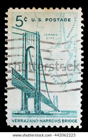 UNITED STATES OF AMERICA - CIRCA 1964: A used postage stamp printed in United States shows the Verrazano-Narrows Bridge between New York Cityboroughs of Staten Island and Brooklyn, circa 1964