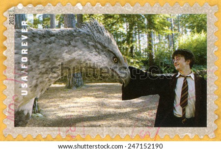 UNITED STATES OF AMERICA - CIRCA 2013: forever post stamp printed in USA shows Daniel Radcliffe as Harry Potter with Buckbeak the Hippogriff; scenes from Harry Potter movies; Scott 4832; circa 2013 - stock photo