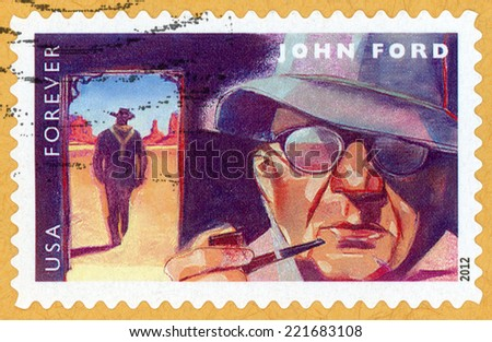 UNITED STATES OF AMERICA - CIRCA 2012: forever post stamp printed in USA shows portrait of film director, producer John Ford (1894-1973) & scene from movie The Searchers; Scott 4668; circa 2012 - stock photo