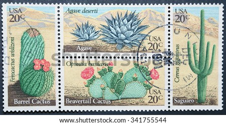 UNITED STATES OF AMERICA - CIRCA 1981: Four postage stamps of USA shows Desert Plants  - stock photo