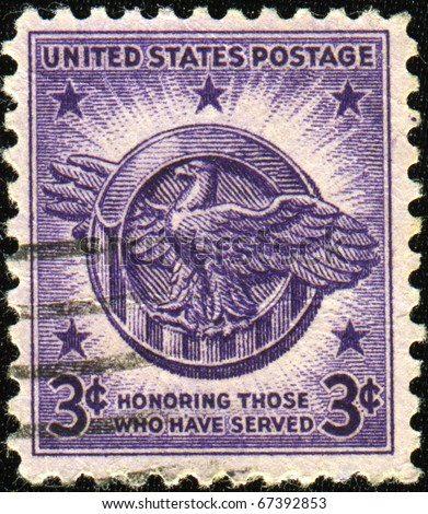 UNITED STATES OF AMERICA - CIRCA 1946: Honoring Those Who Have Served United States Postage Stamp, circa 1946 - stock photo
