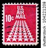UNITED STATES OF AMERICA - CIRCA 1968: mail stamp printed in USA featuring the fifty star US Air Mail, circa 1968 - stock photo