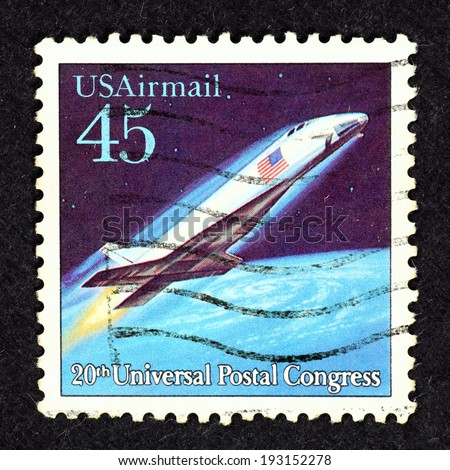 UNITED STATES OF AMERICA - CIRCA 1989: Postage stamp printed in United State of America with image of a futuristic rocket spaceship to commemorate the 20th Universal Postal Congress.  - stock photo