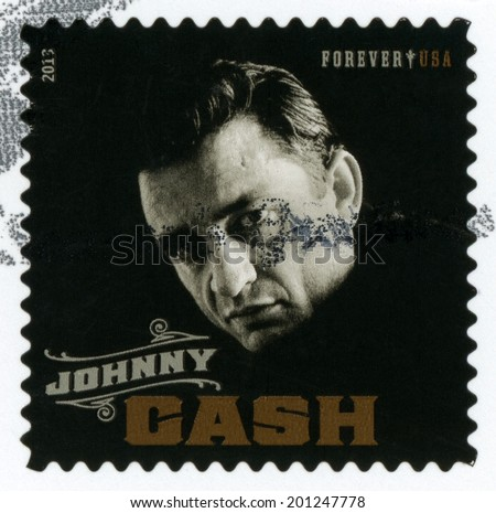 UNITED STATES OF AMERICA - CIRCA 2013: square forever stamp printed in USA shows black & white closeup of Johnny Cash; singer, rock & roll, blues, country, gospel; Music Icons; Scott 4789; circa 2011 - stock photo