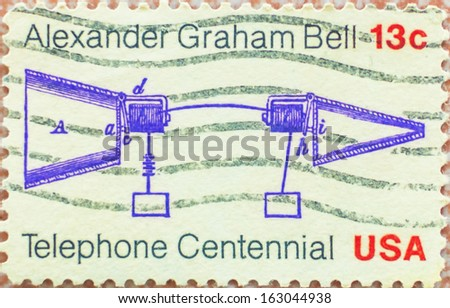 UNITED STATES OF AMERICA-CIRCA 1976: stamp printed by United States of America, shows first telephone call by Alexander Graham Bell  - stock photo