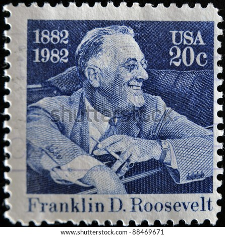 UNITED STATES OF AMERICA - CIRCA 1982: stamp printed by United states, shows Franklin Delano Roosevelt, circa 1982 - stock photo