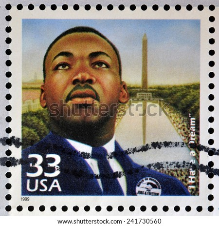 UNITED STATES OF AMERICA - CIRCA 1999: Stamp printed in USA dedicated to celebrate the century 1960s, shows Martin Luther King, circa 1999 - stock photo